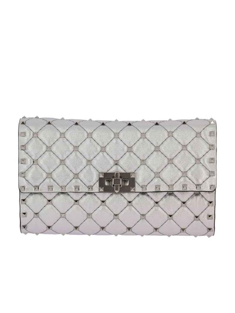 CLUTCH VALENTINO ROCKSTUD SPIKE SMALL BAG IN LAMINATED AND QUILTED NAPPA LEATHER WITH METAL STUDS AN