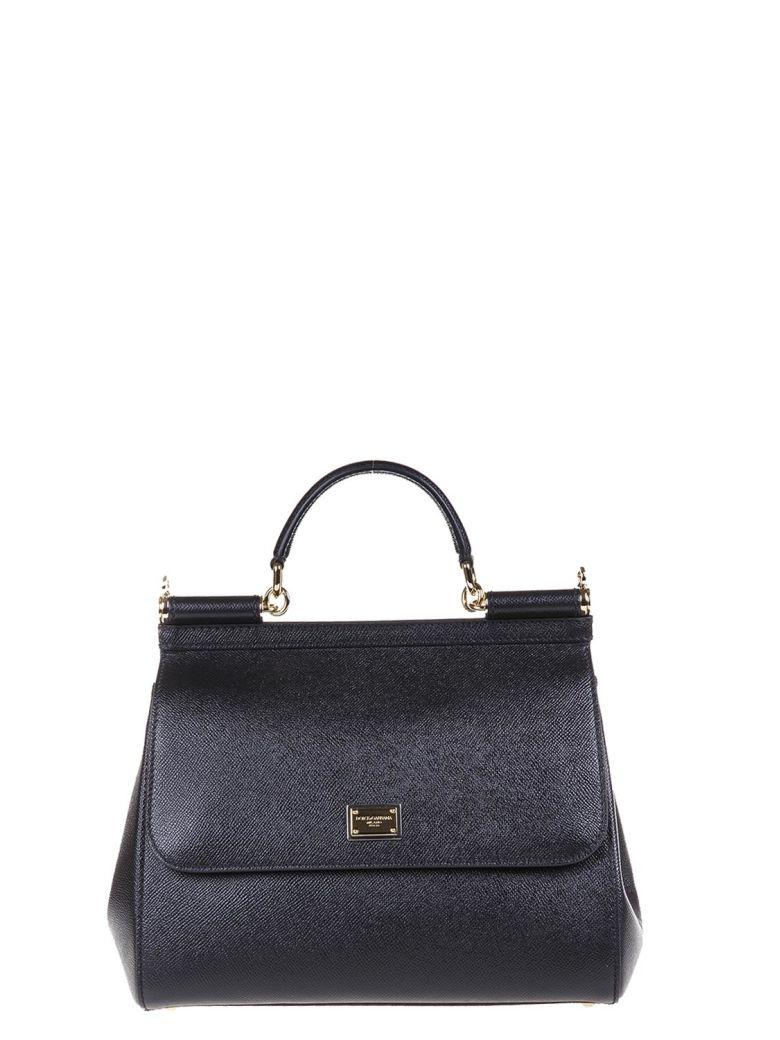 MISS SICILY BLACK DAUPHINE LEATHER BAG
