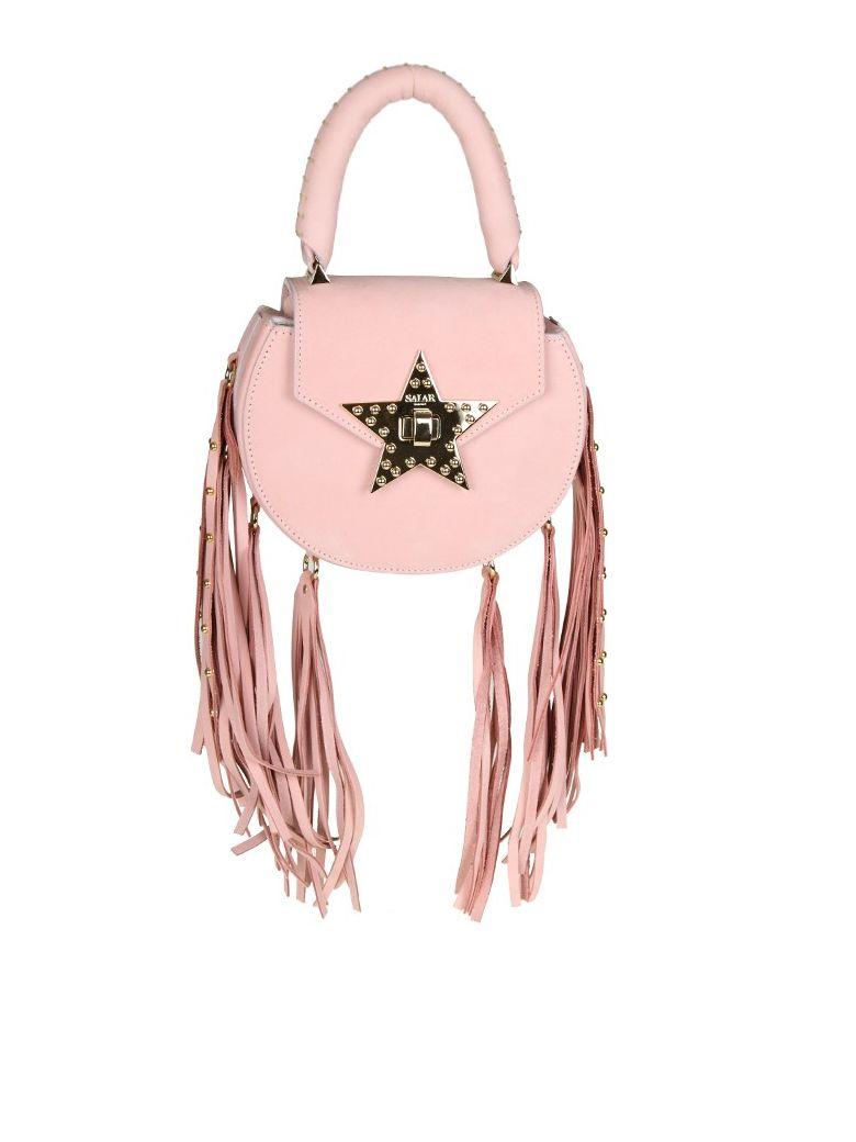 "Salar ""MIMI FRINGE"" BAG PINK SUEDE WITH FRINGE APPLIED"