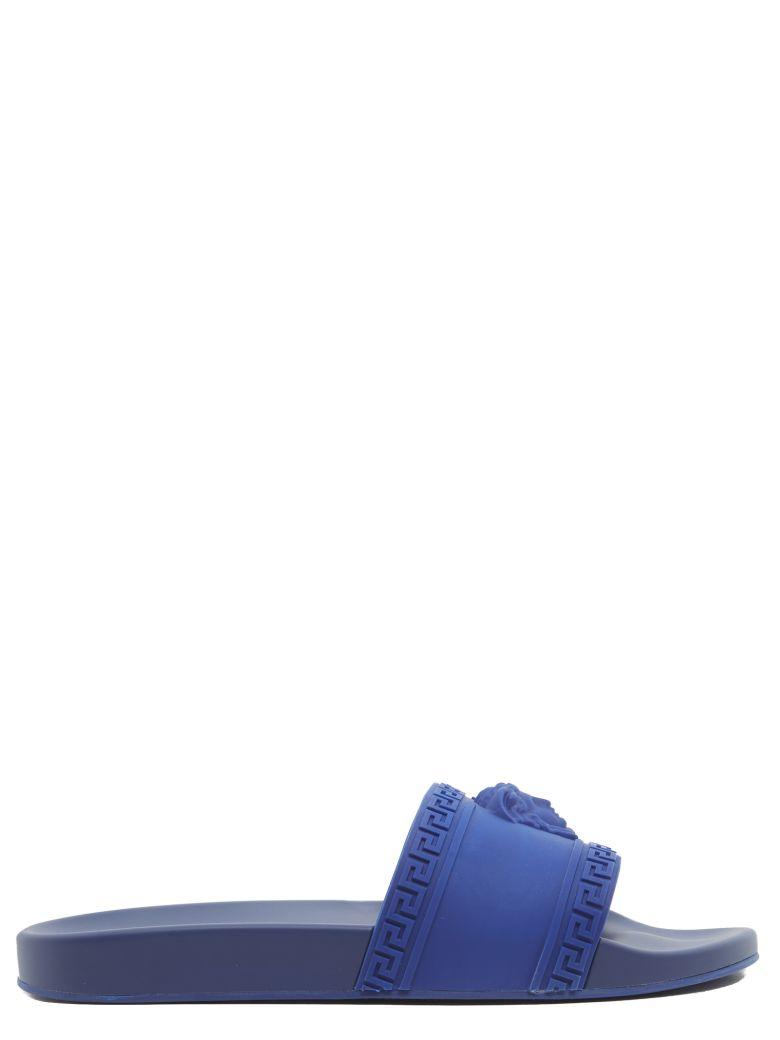 0294f589f6037 Versace Men S Medusa   Greek Key Shower Slide Sandal In Blue
