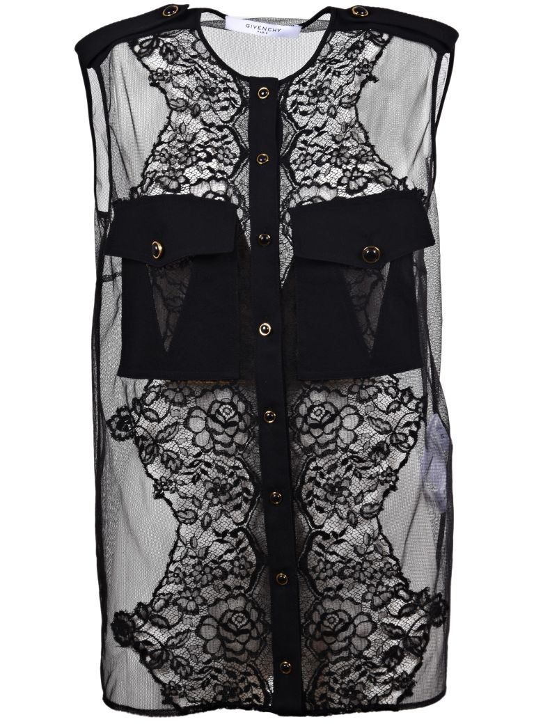 Short-Sleeved Blouse With Lace Inserts in Black
