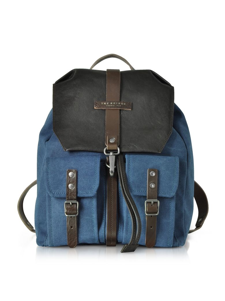 THE BRIDGE CARVER-D CANVAS AND LEATHER MENS BACKPACK W-FLAP TOP