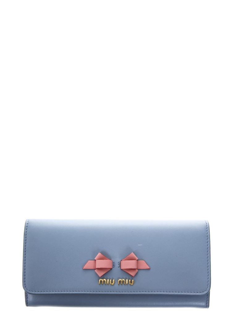 SKY LEATHER CONTINENTAL WALLET WITH BOW DETAIL