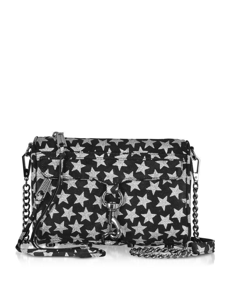 rebecca minkoff black and silver stars mini mac clutch/shoudler bag