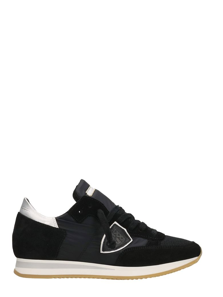 PHILIPPE MODEL Black Suede Leather And Nylon Tropez Sneaker