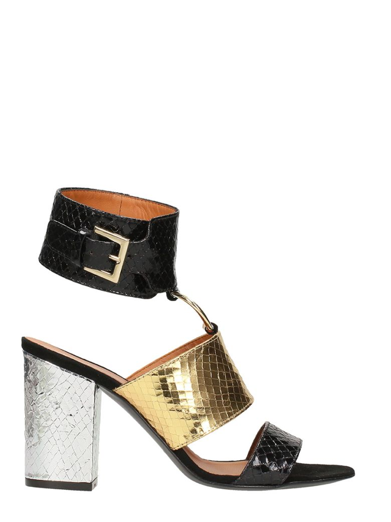 VIA ROMA 15 BLACK AND GOLD PYTHON LEATHER SANDALS