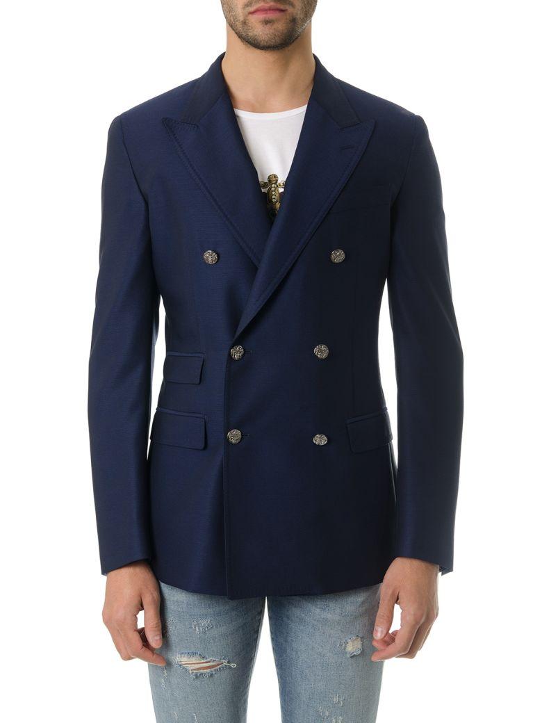 dolce & gabbana                                                                                               dolce & gabbana navy blu wool twofold jacket
