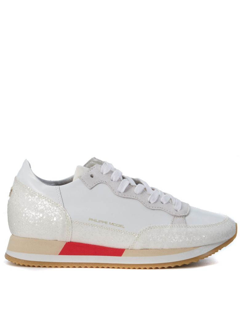 BRIGHT SNEAKER IN WHITE PEARLED RUBBER LEATHER