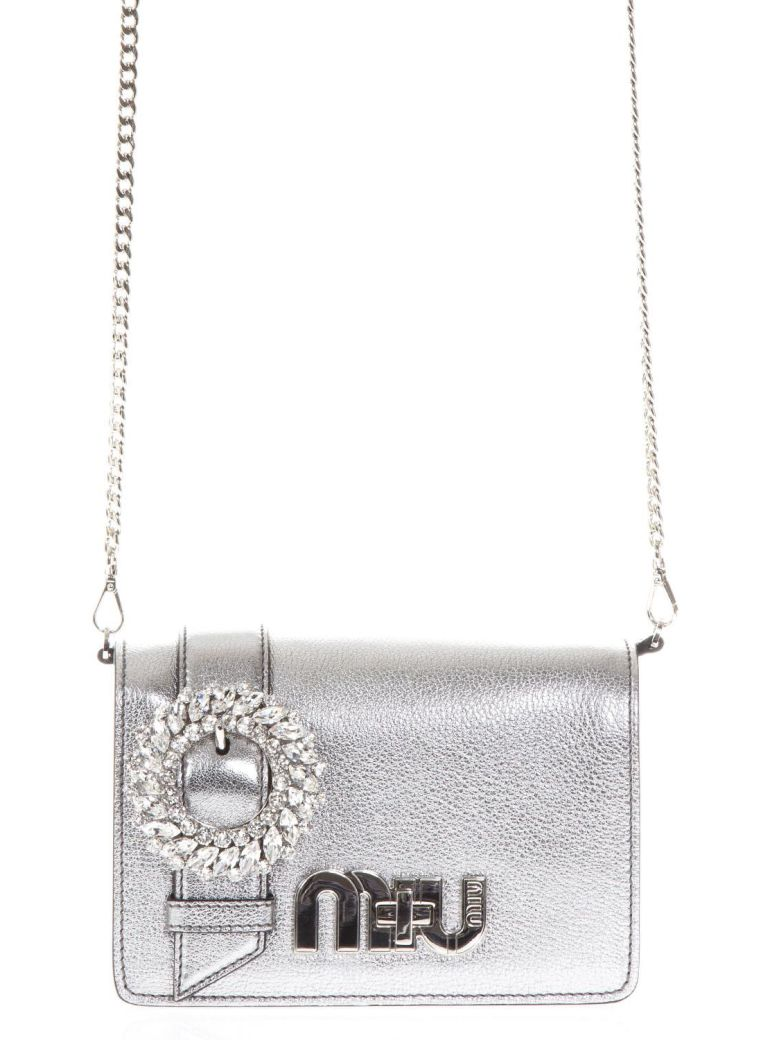 EMBELLISHED CHROME METALLIC LEATHER BAG