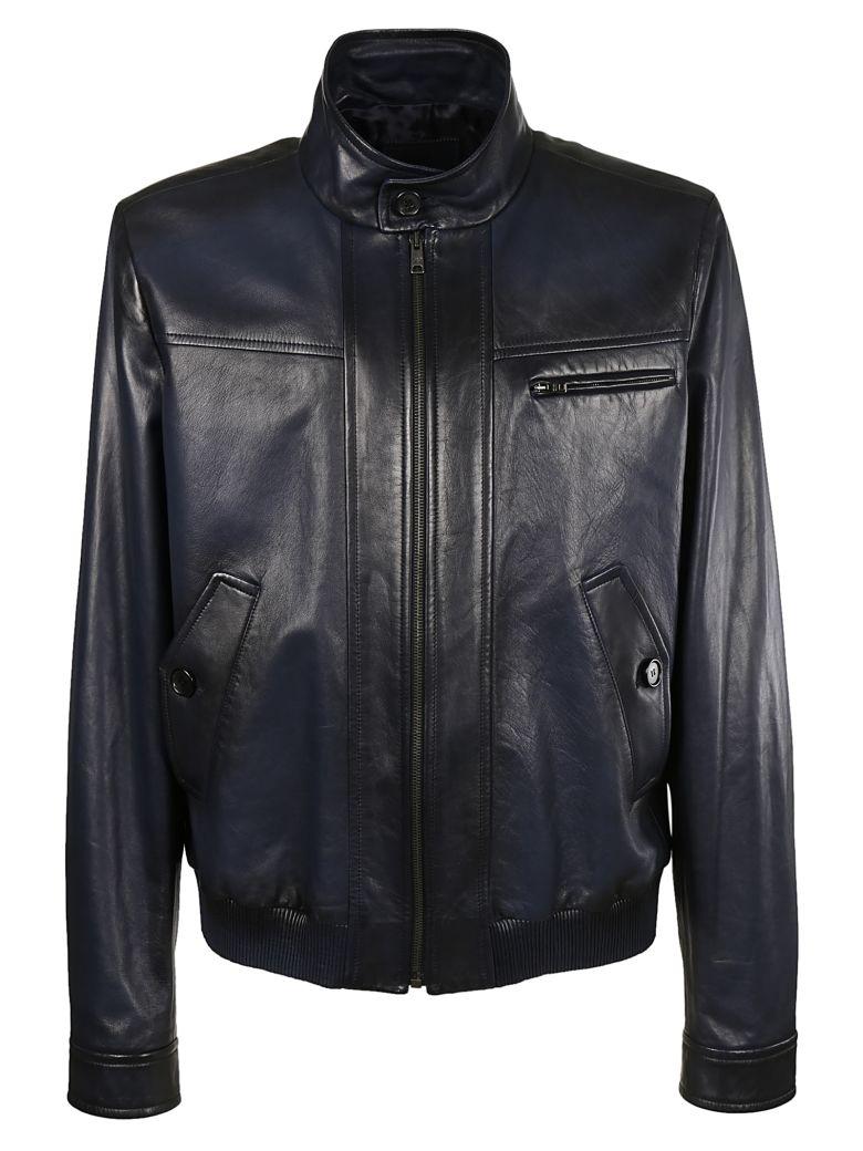 aa41e8fb Zipped Leather Jacket, Blu