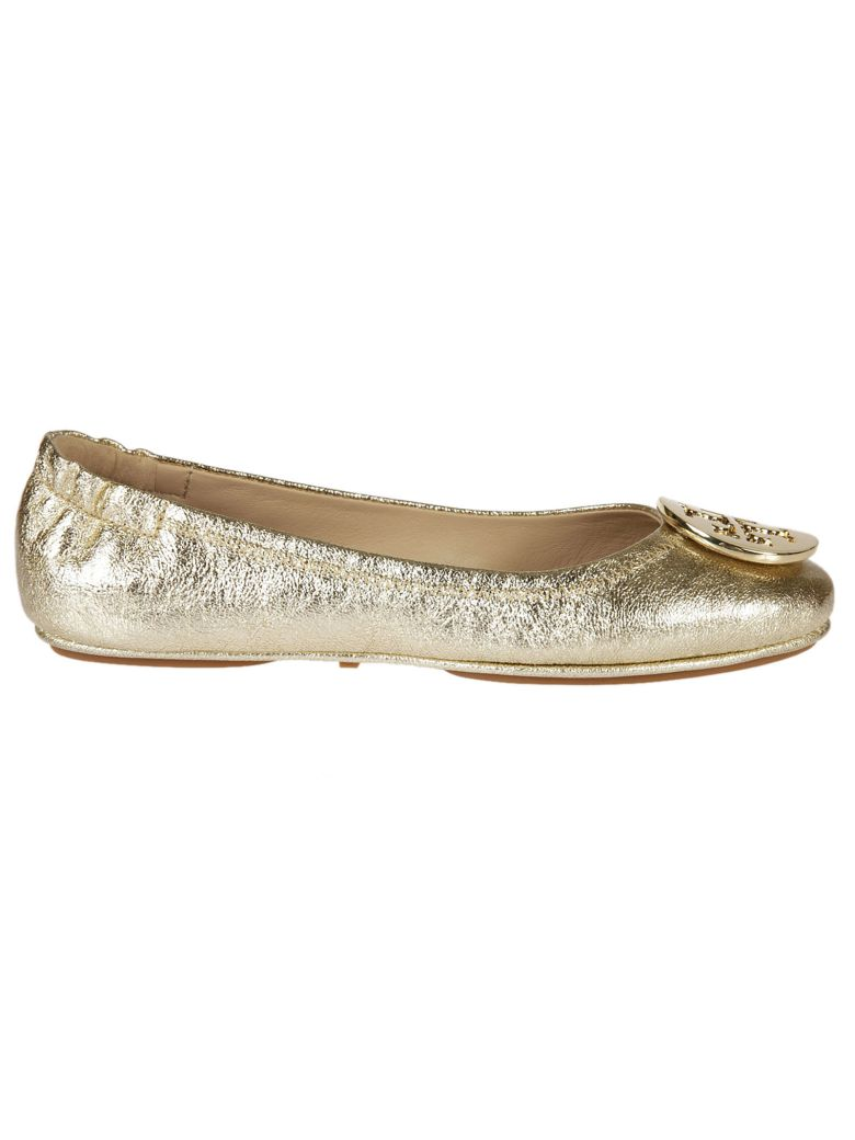 0188eb50487bf9 TORY BURCH MINNIE TRAVEL SPARK GOLD SMOOTH METALLIC LEATHER BALLET FLAT