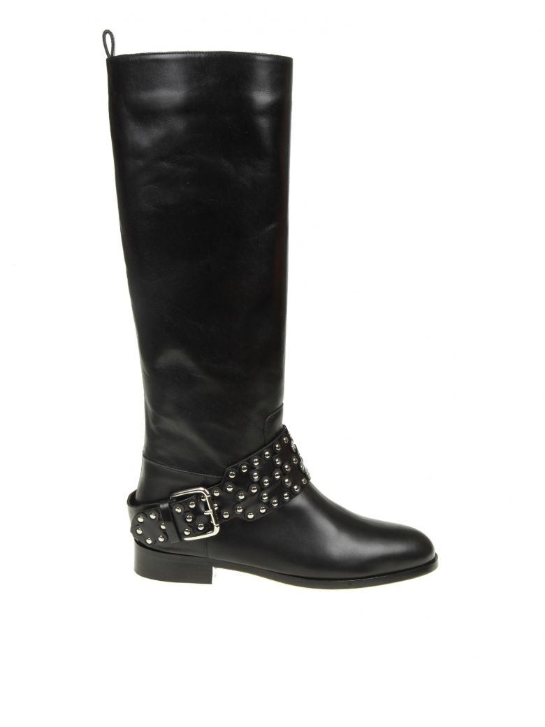 Leather Knee Boots With Embellishment, Black