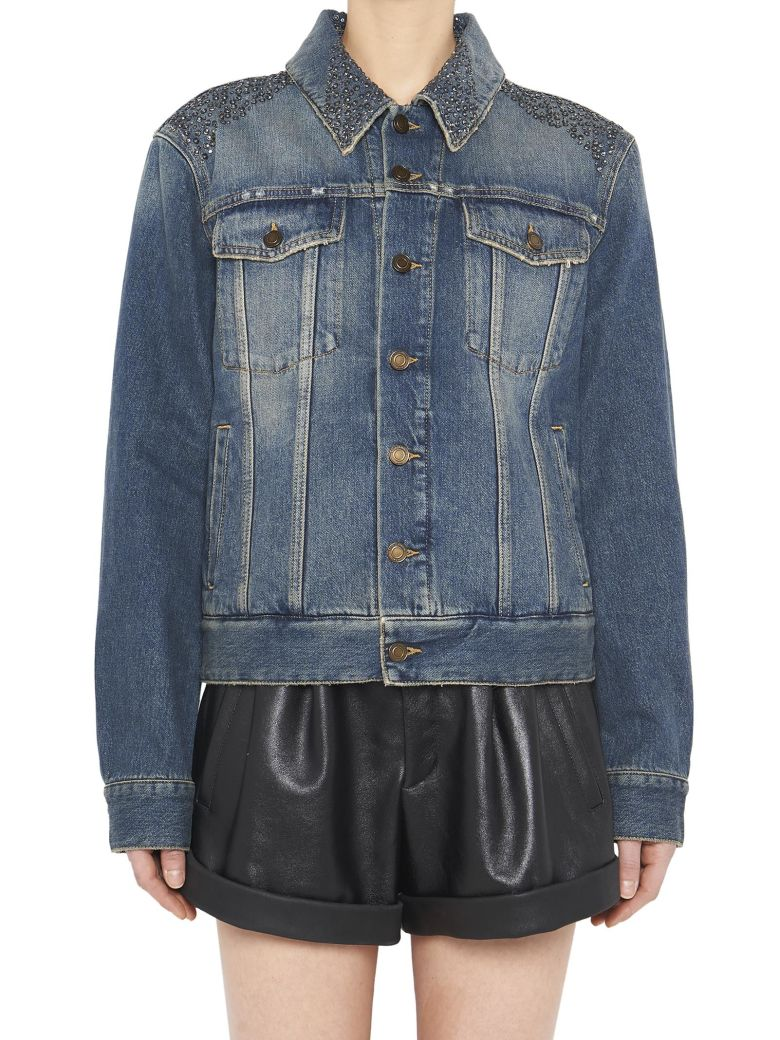 Button-Front Long-Sleeve Denim Jacket W/ University Emblem Print On Back in Blue