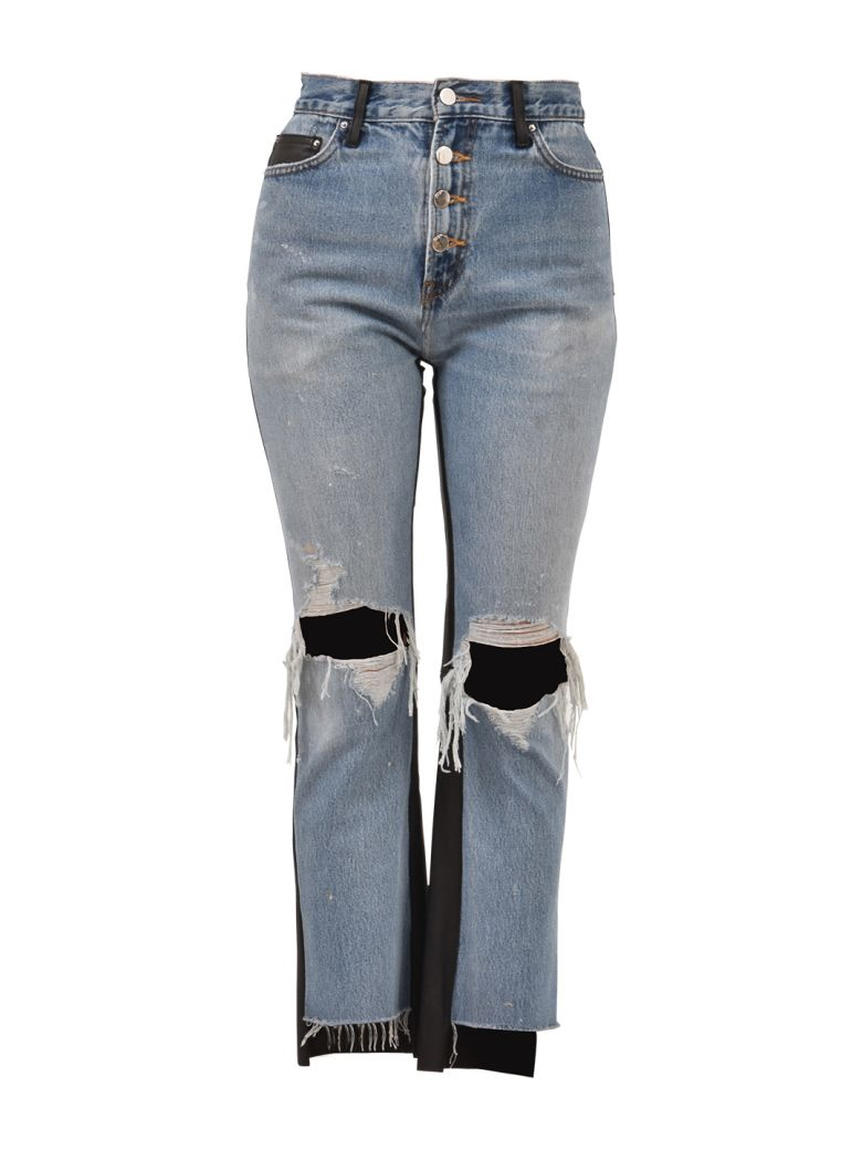 LEATHER AND DENIM JEANS