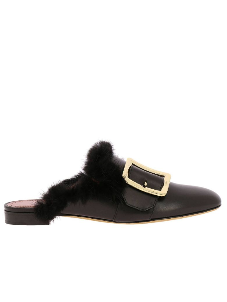BALLY Janesse Fur Trimmed Slippers in Black