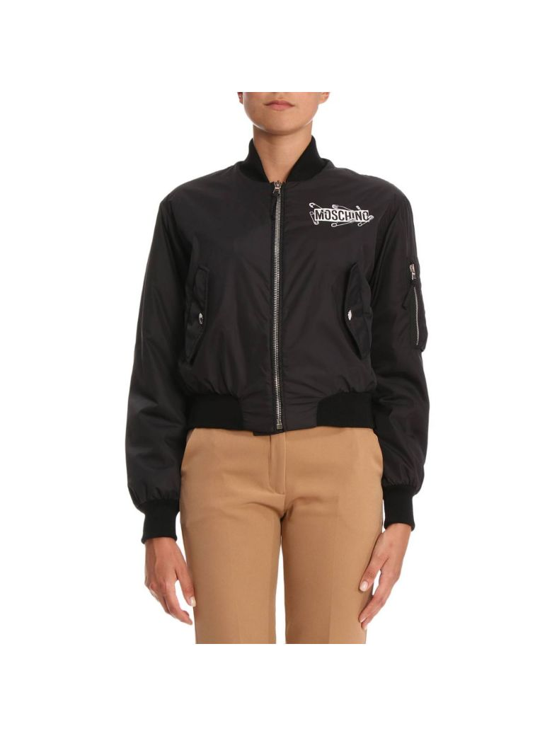 Safety Pin Teddy Bomber Jacket in Black