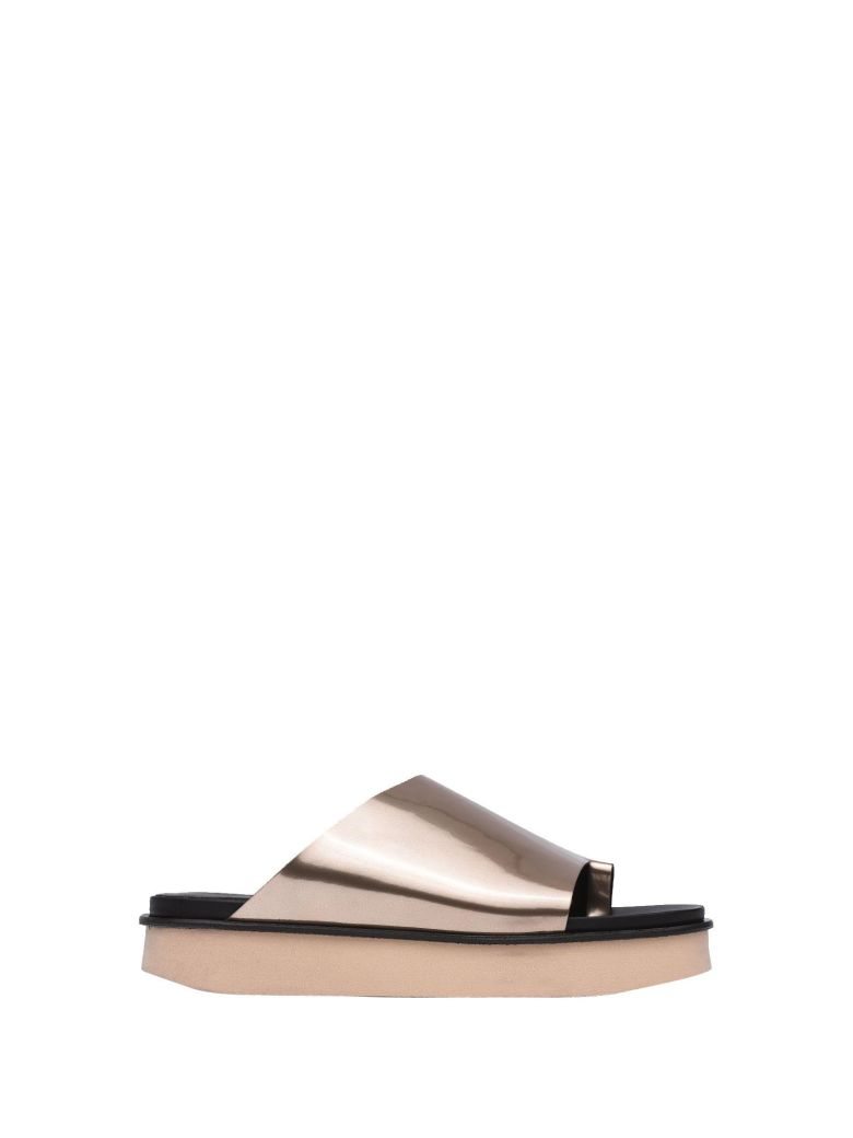 VIC MATIE ROSE GOLD MIRRORED LEATHER SLIPPER