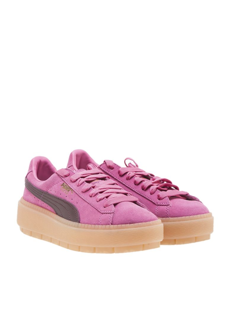 Women'S Suede Platform Rugged Casual Sneakers From Finish Line in Pink
