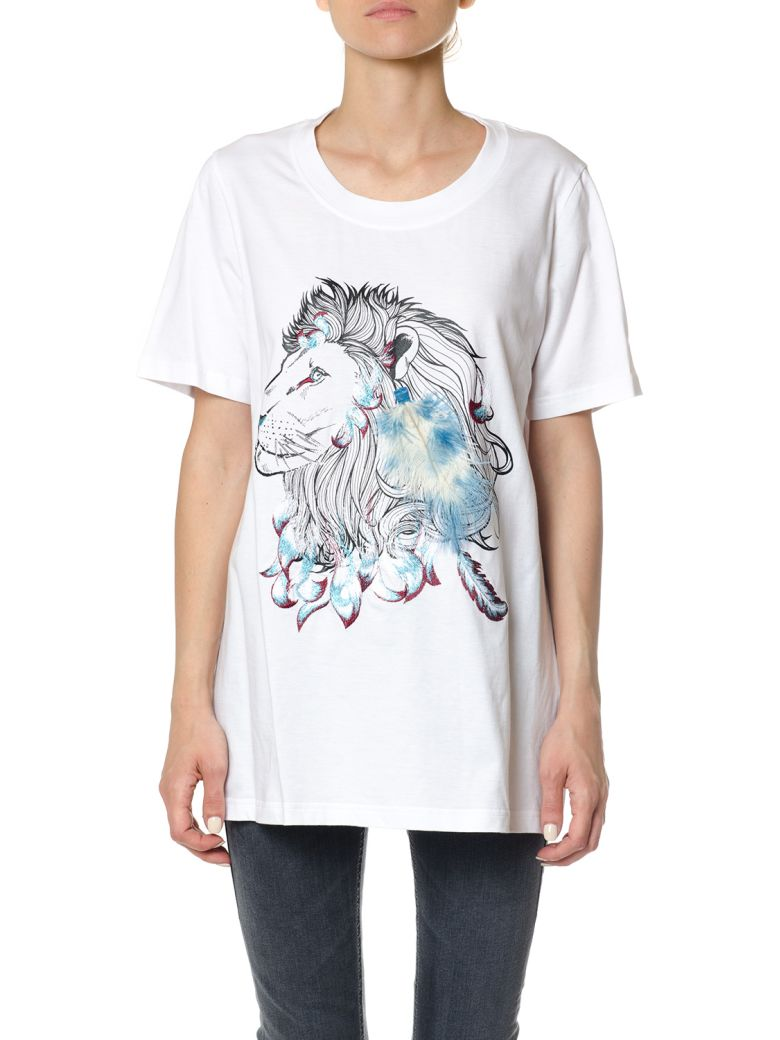 COTTON T-SHIRT WITH FEATHER DETAIL