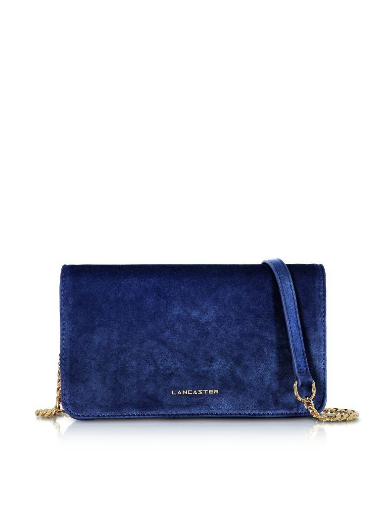 LANCASTER Velvet Flap Clutch W/Strap in Royal Blue