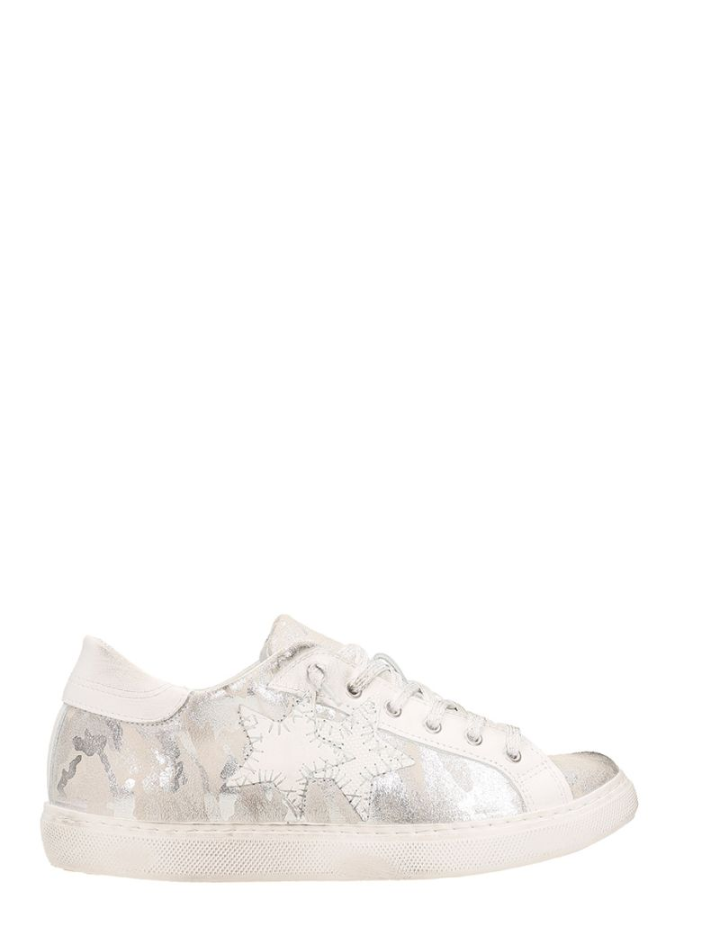 2STAR LOW STAR SILVER LEATHER SNEAKERS