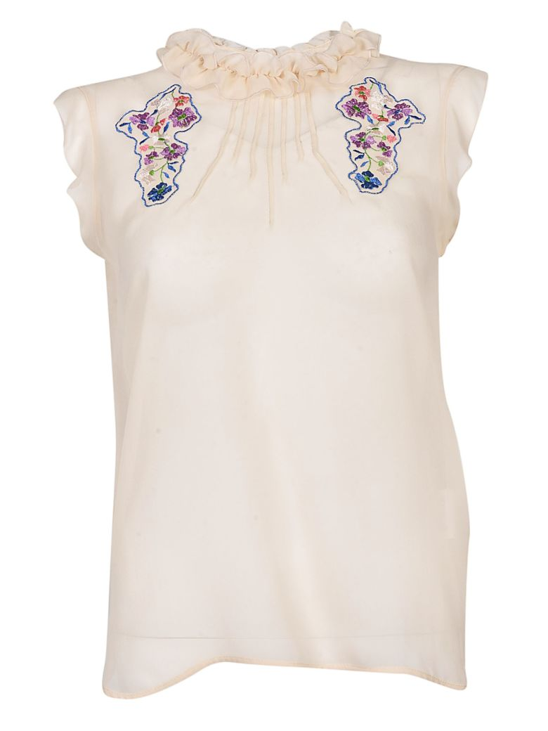 TRUE ROYAL FLORAL EMBROIDERED TOP