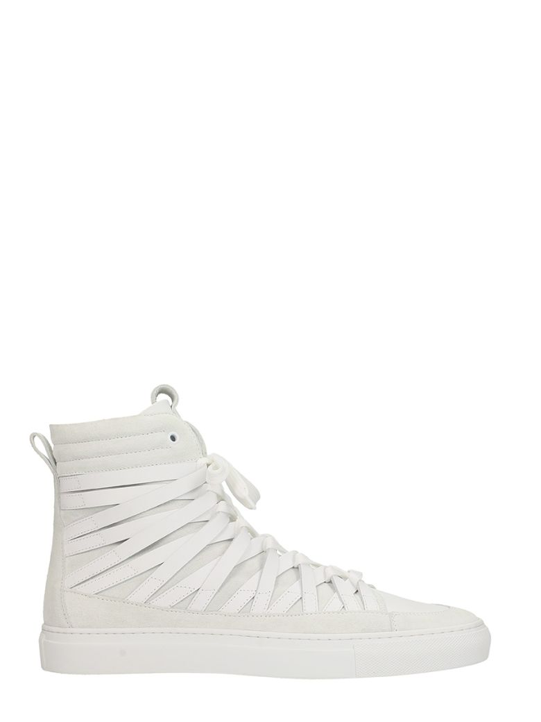 DAMIR DOMA X OFFICINE CREATIVE FALCO WHITE LEATHER AND SUEDE SNEAKERS
