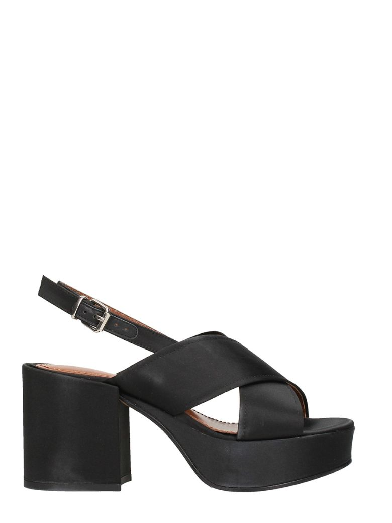 LOLA CRUZ BAMBU BLACK SATIN SANDALS