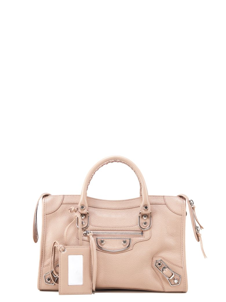 SMALL CLASSIC METALLIC EDGE CITY LEATHER TOTE - PINK