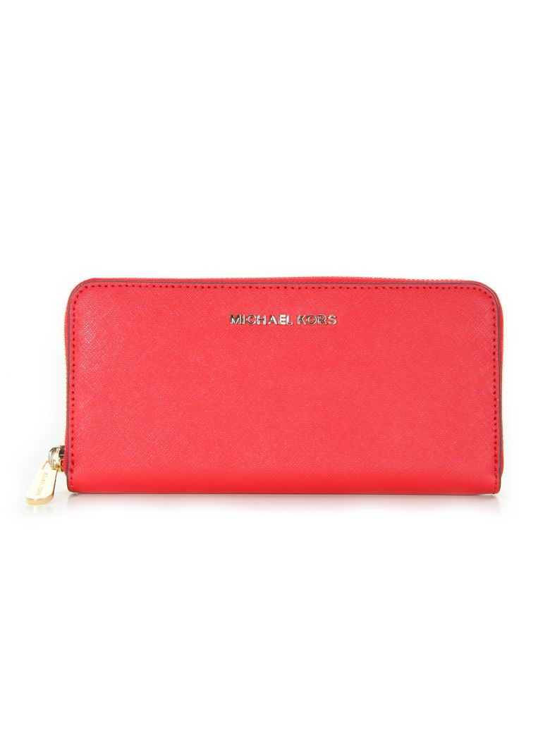 JET SET TRAVEL CONTINENTAL WALLET MICHAEL MICHAEL KORS RED