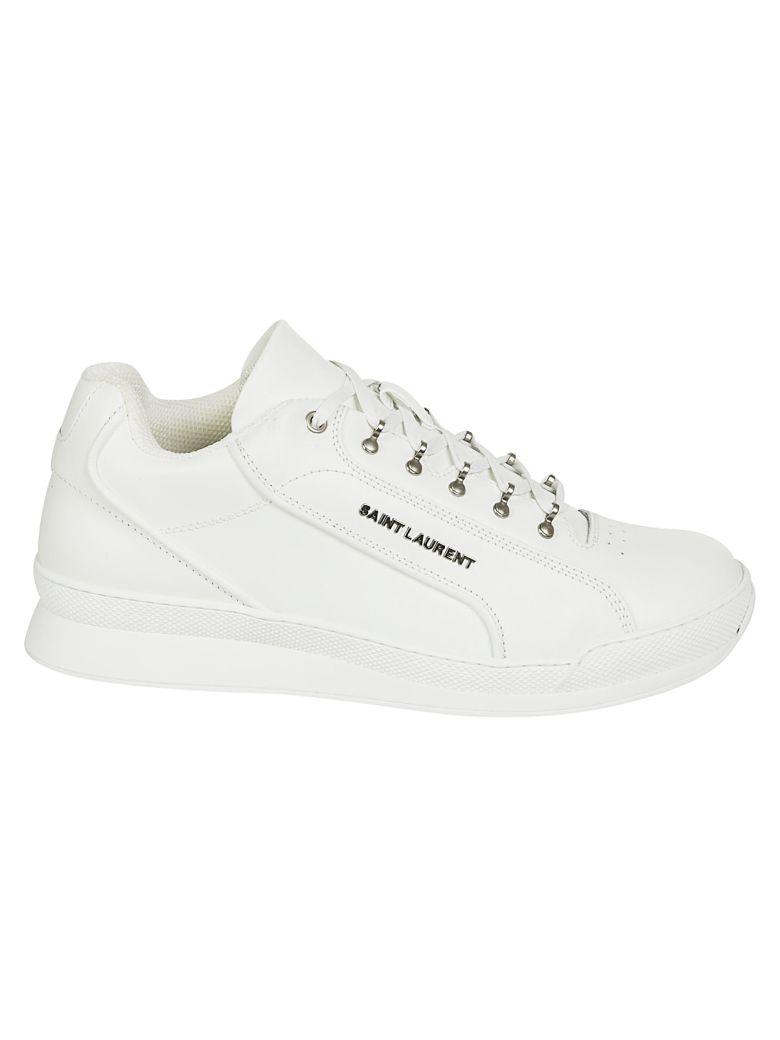SAINT LAURENT Men'S Jump Low-Top Leather Sneaker, Blanc Optique