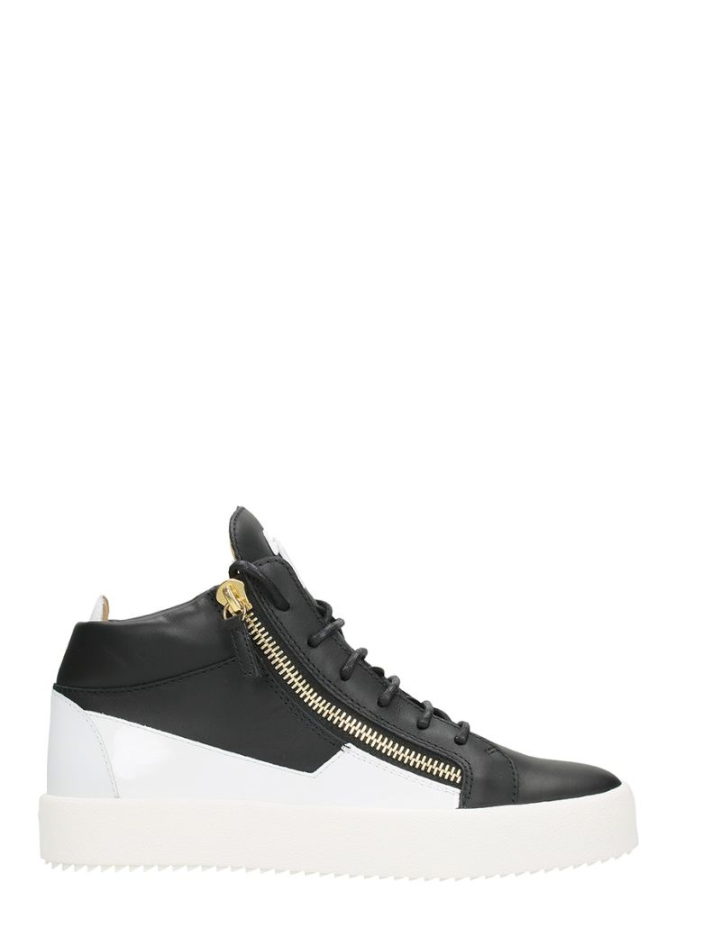 Giuseppe Zanotti  KRISS BLACK AND WHITE LEATHER MID SNEAKERS