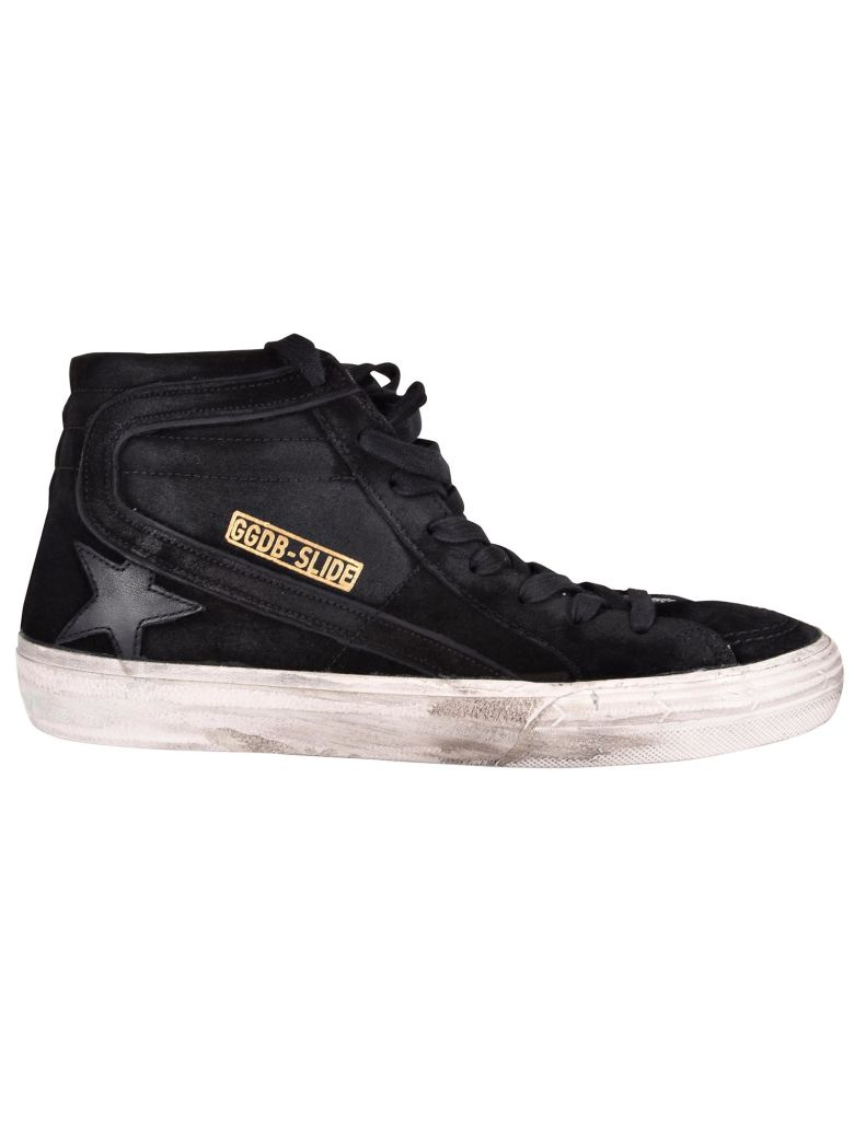Men'S Shoes High Top Suede Trainers Sneakers Slide in Black