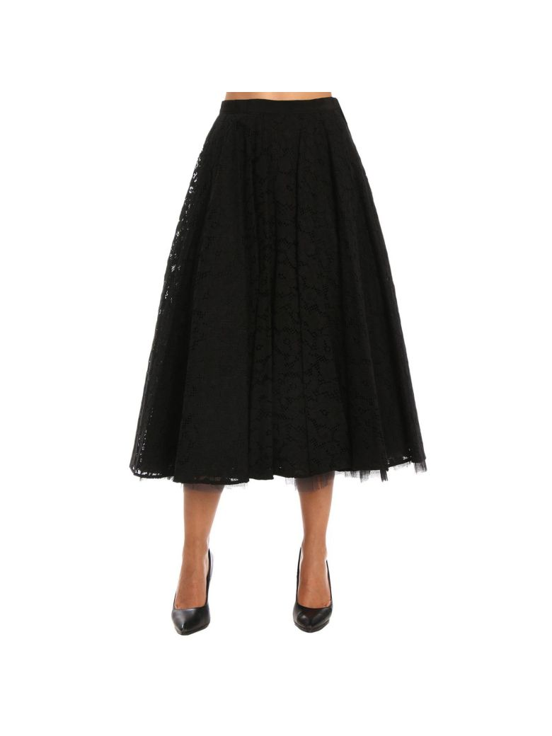 Marilyn Corded Lace Skirt, Black