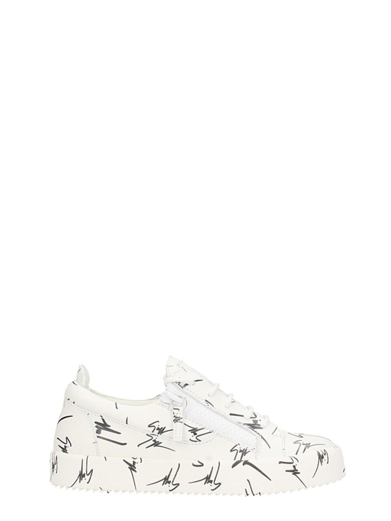 The Signature Low Zip Sneakers, White