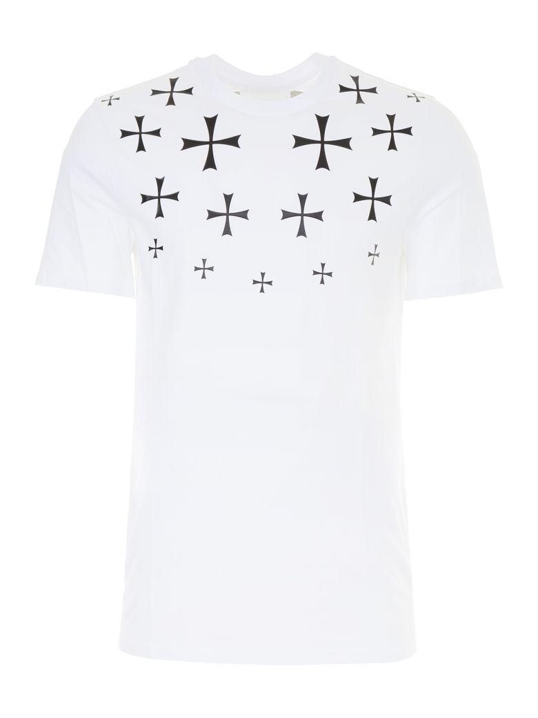 NEIL BARRETT Men'S Fair Isle Military Star Crewneck Short-Sleeve Cotton T-Shirt, White Blackbianco