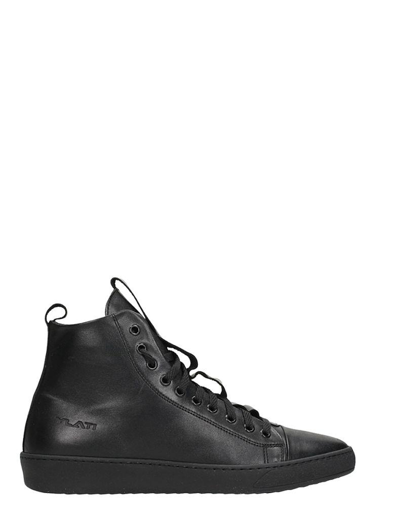 YLATI FOOTWEAR SORRENTO BLACK LEATHER SNEAKERS