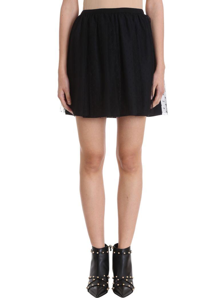 Pleated Point D'Esprit Tulle Mini Skirt in Black