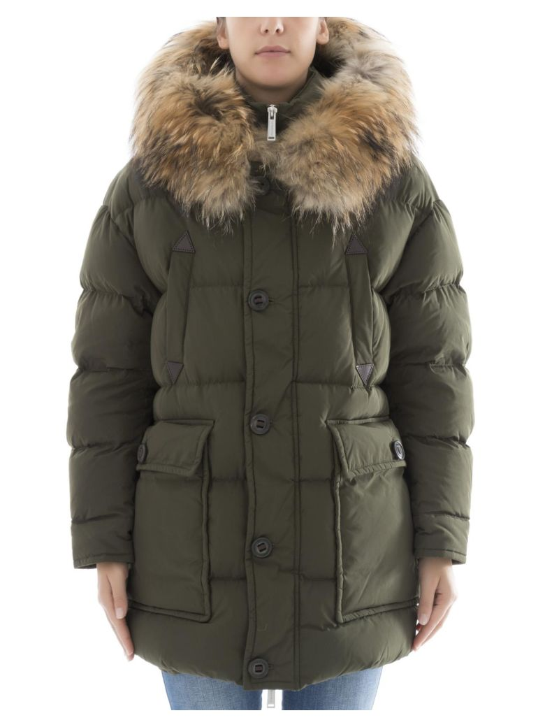 GREEN POLYESTER DOWN JACKET
