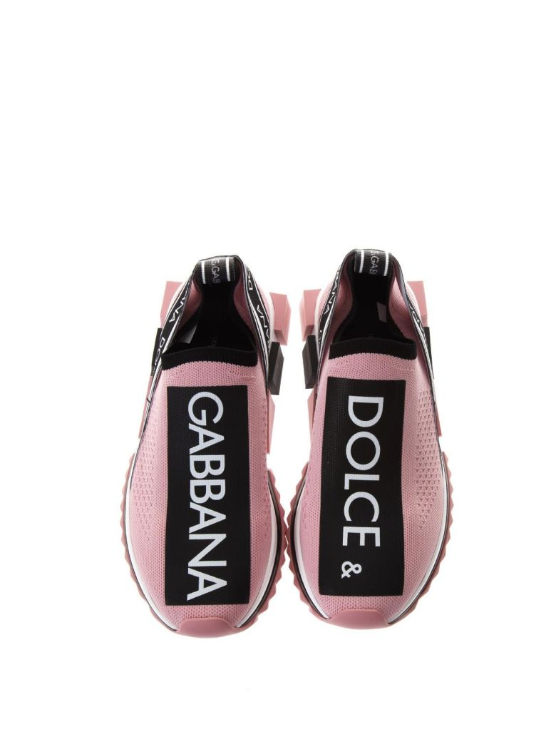 Dolce And Gabbana Pink Sorrento Slip-On Sneakers, Black-Pink