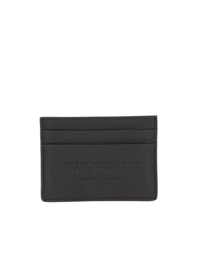 576cbac6471 BURBERRY LOGO-EMBOSSED GRAINED-LEATHER CARD HOLDER