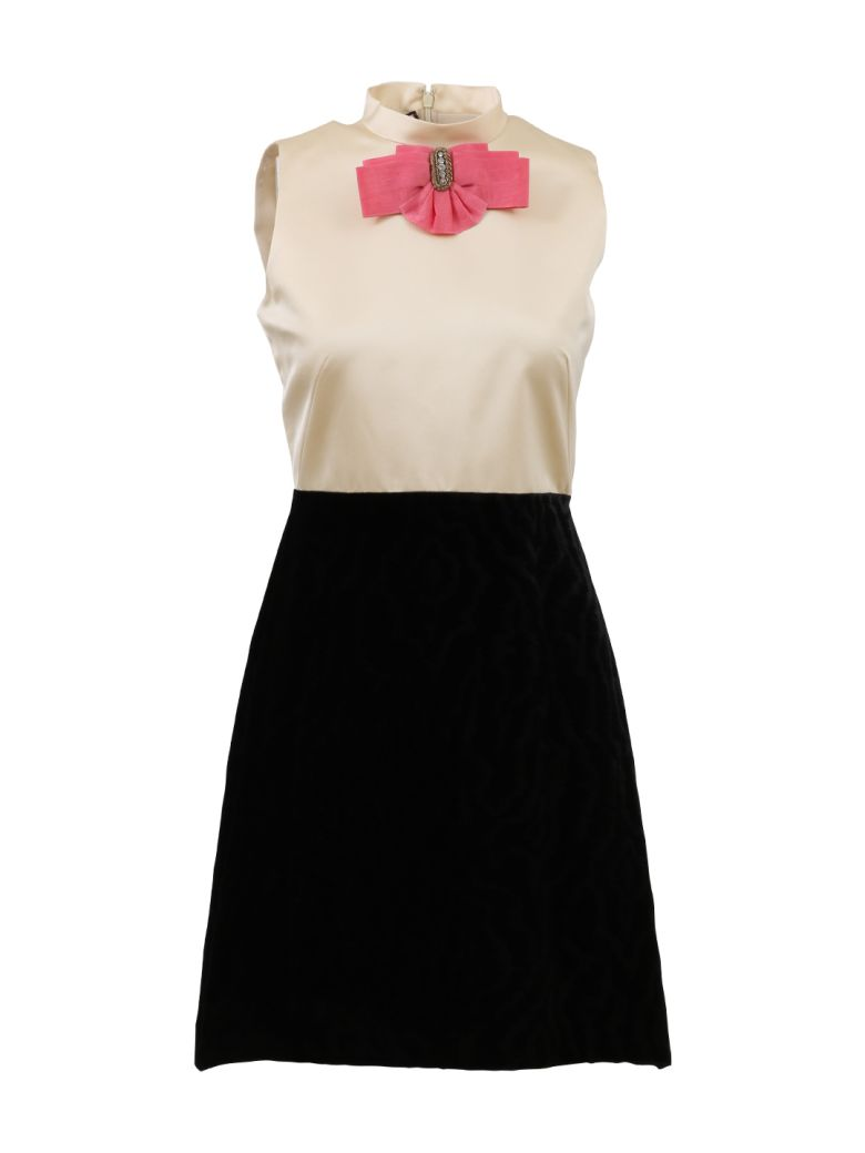 TWO-MATERIAL SLEEVELESS DRESS