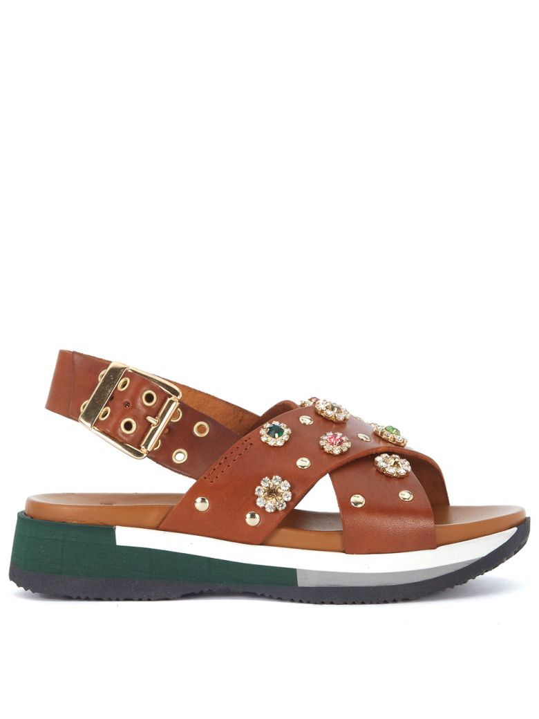 TIPE E TACCHI BROWN LEATHER SANDAL WITH JEWEL FLOWERS