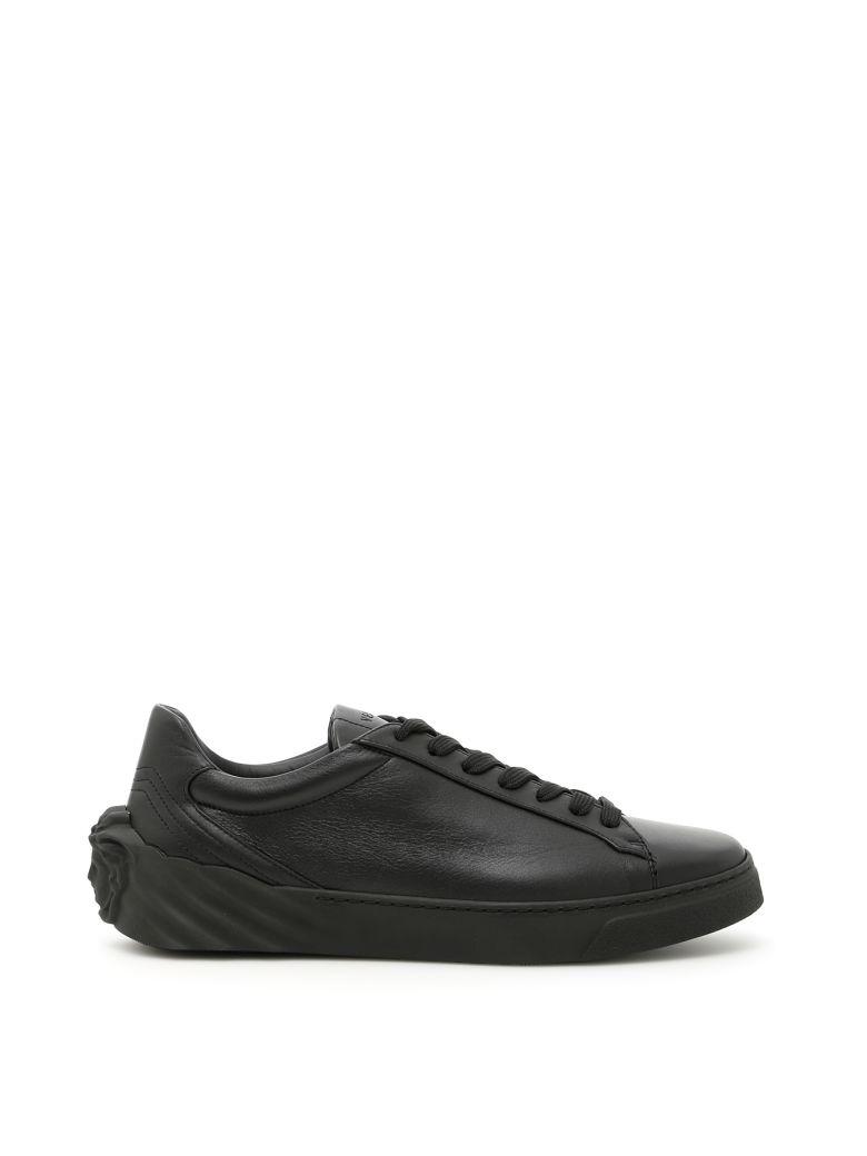 Black Medusa Heel Leather Men'S Sneakers