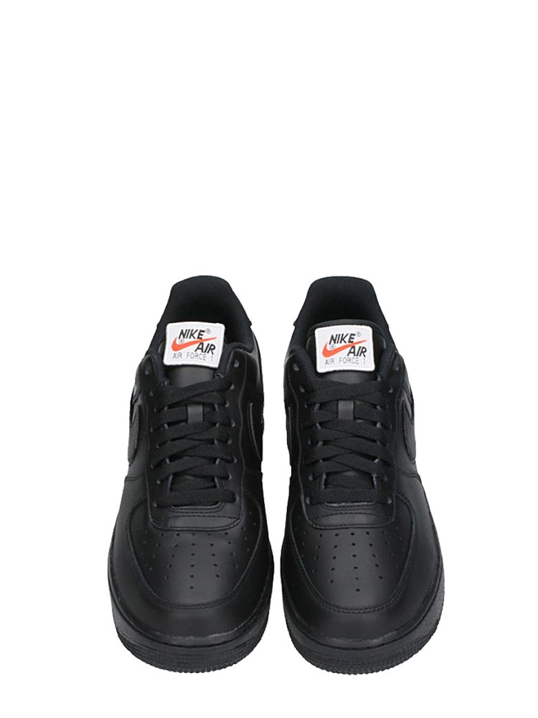NIKE Shoes AIR FORCE 1 QS BLACK LEATHER SNEAKERS