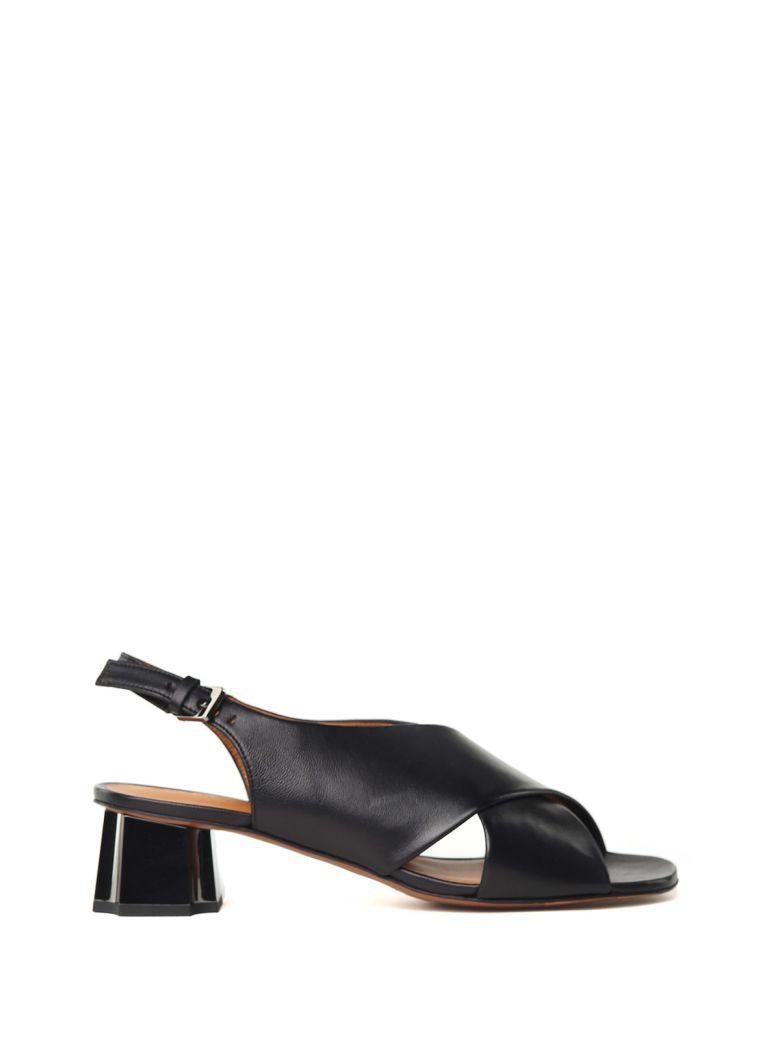 Laora Metal-Heel Leather Sandals, Nero