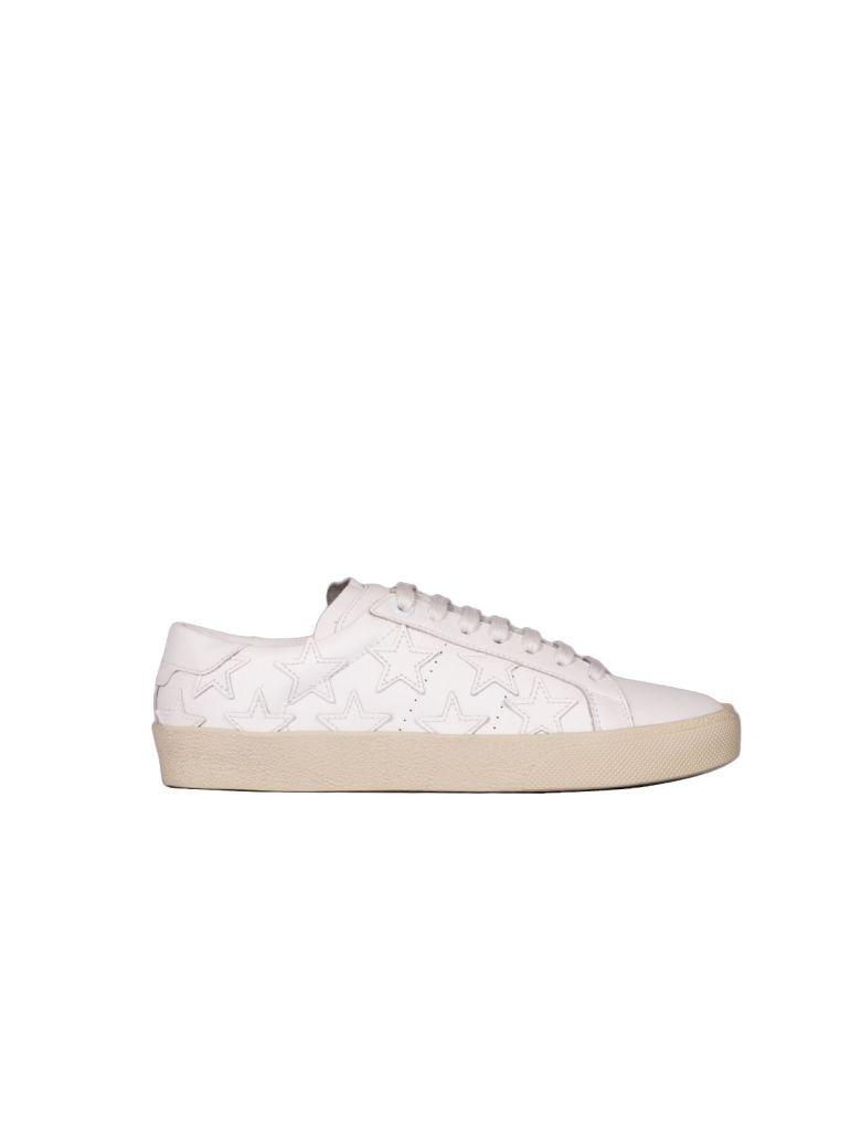 WHITE LEATHER SNEAKERS WITH STARS
