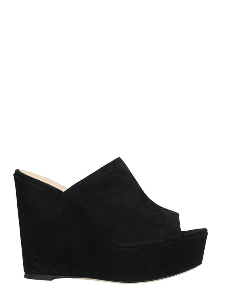 DEI MILLE BLACK SUEDE LEATHER WEDGE SANDALS