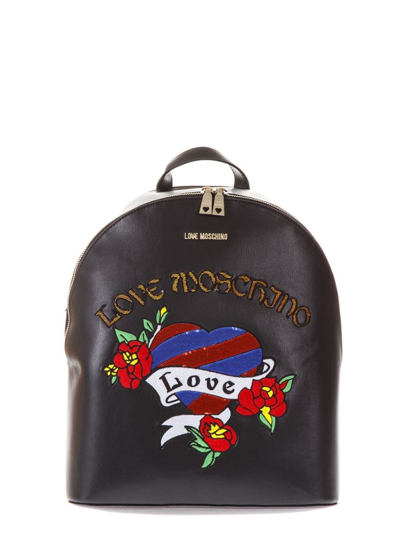 Black Faux Leather Backpack With Heart Pattern