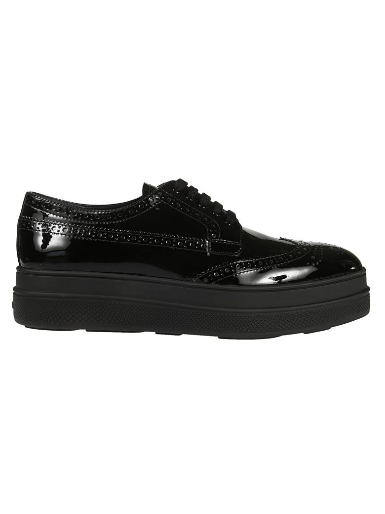 Platform Lace-Up Shoes, Nero